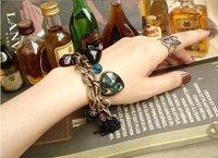Free shipping  Vintage peacock feathers Peach Heart Leaves key tassel bracelets