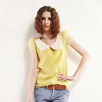 women  mango summer vintage puff sleeve lace chiffon shirt