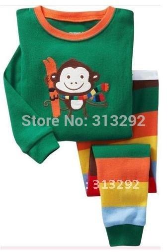 P159, Skiing Monkey, Baby/Children 100% Cotton Rib long sleeve T shirt + pant pajamas/sleepwear/clothing sets for 2-7 year.(China (Mainland))