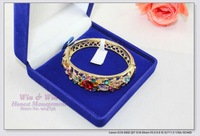 FREE SHIPPING chinese traditional crafts colorful rhinestone flower gold plated Cloisonne bangles,armbands & bracelets B3003