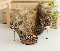 New Leopard Rabbit Hair ankle Boots,High heel Platform Women's Boots,Best Selling Guaranteed 100%,512-ANJQLLD A6-10