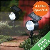 Solar Spot light solar yard light+4 bright LEDs+100% Solar powered+ 2pcs/lot+Free shipping