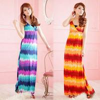 9455 bohemia tie-dyeing gradient V-neck long dress