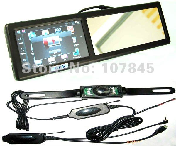 Free shipping 4.3 GPS navigation navigator+ Wireless Car Rear back Camera + car rear view mirror monitor+ Bluetooth +AVIN +4GB(China (Mainland))