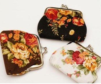 Messenger Bag flower Camellia Bag Coin Wallet Change Purse Coin Bag Key / Phone Holder 12PCS/lot mixed pattern CB07