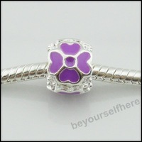 100pcs/lot A45 New Lucky Clover Purple Silver Plated Enamel Rondelle Big Hole Charms Beads Fit Euorpean Bracelets