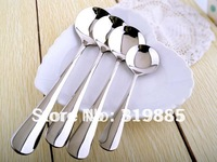 Four piece set stainless steel round spoons for family dinner