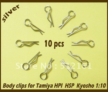 Body clips for all Tamiya HPI  HSP HBX  Kyosho 1:10 RC Silver -10pcs