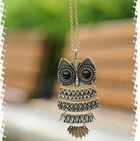 Min.order is $5 (mix order)Free Shipping,Fashion Bronze owl necklace With Big Eye Pendant Vintage Necklace, (J001)