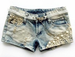 Free shipping 2012 Low Waist Lace Beading Hole Denim Shorts/Short pants Wholesale(China (Mainland))