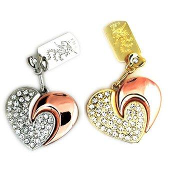 Drop shipping retail genuine capacity 2GB 4G 8G 16G 32G diamond Heart Shape  usb flash Memory