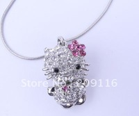 Promotion Factory Price Wholesale Crystal White Gold Plated 3D Hello Kitty in Dress Pendent Necklace Hello Kitty Jewelry
