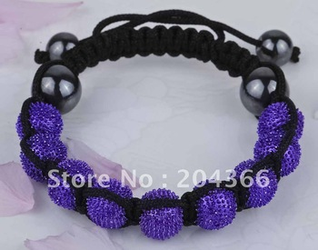 NBN18 Freeshipping Wholesale 2012 newest design jewelry Shamballa Bracelets hedgehog purple Ball beads 10mm