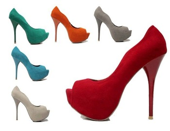 Women 2012 Fashion Sexy Colors Flock Fish Mouth Wedding High Heel Shoes/Ladies Pump Shoes Euro Size:36-39 L230