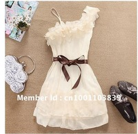 Women Sweet Pleated Party One Shoulder Off Chiffon Dress Hot Sale Wholesale~free shipping #5100
