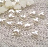 Free Shipping!!10mm Heart Shape Half Pearls!!Wholesale Flatback ABS Pearls!!2000 Pieces/lot!!Fashion Imitation Half Pearls!!