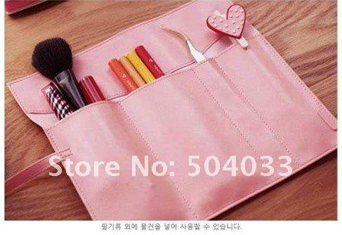 Wholesale Fashion kids pencil case,Student's pen purse Box Retro cortex Large-capacity Cosmetic Bag PU Pencil bag Storage Bag(China (Mainland))