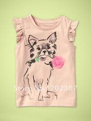 good quality baby girls cat short sleeve t shirt kids top children tee 100%cotton 5456 pink(China (Mainland))