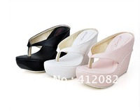 Free shipping 2012 new summer sandals thick crust slope folder with sandals ultra-high toe with sandals (3-color,34-43)