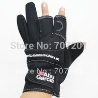 Freeshipping 10 pairs Abu Garcia Fishing Gloves Anti Water Proof Fishing Stretch Gloves