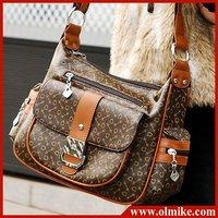 free shipping wholesale ladies' fashion pu leather handbag 2012 new diagonal rivet package retro Messenger shoulder bag BB015
