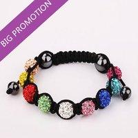 Christmas Gift! 2014 Lose Moeny Shamballa Bracelets Jewelry ,9 Multi Colors Micro Pave CZ Disco Bead Weaven Bracelet & Bangles