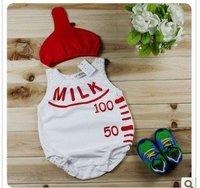 2012 new free shipping 6sets baby milk bottle design jumpsuit+ hat