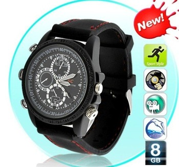 Free shipping 8GB hidden camera watch cam Dvr wrist watch Waterproof Hd