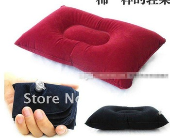 double sided flocking Travel Pillow cushion rectangle shape  Air Inflatable Plane body hotel camping