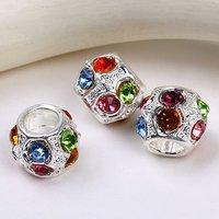 5Pcs Motley Rhinestone Drum Spacers Beads Fit Charm European