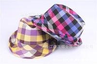 New Fashion Kids Plaid children Fedora Hats Caps Hat Girls Children Fedoras Hat For Kids Cap Headgear  Mix 3 Colors