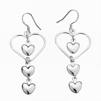 Free Shipping!!! Quality Women's 4-Hearts Style 925 Silver Earring, Fashion 925 Silver Jewelry, Factory Price! (E176)