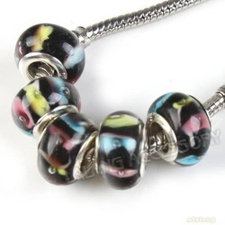 30pcs/lot NEW Colorful Smooth Murano Lampwork Glass Charms Bead Spacer Double Core Bead Fit European Bracelet Wholesale 151760(China (Mainland))