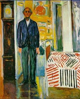 Belas artes Reprodução - Edvard Munch Self Portrait Entre relógio e petróleo Bed pinturas sobre tela , de alta qualidade pintura a óleo museu