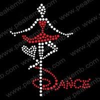 Beautiful Dance Girl Rhinestone Transfers Iron On Free Shipping Wholesale 30pcs/Lot