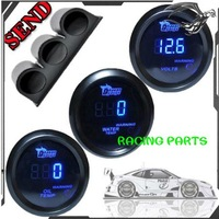 "2"" 52mm BLUE DIGITAL WATER TEMP +OIL TEMPERATURE +VOLT GAUGE METER +1 PCS TRIPLE DASH GAUGE HOLDER MOUNT POD"
