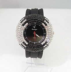 holiday sale Best Selling Bling Bling Black Silicone Sparkling Crystal fashion Women ladies Wrist Watch #w0168-2(China (Mainland))