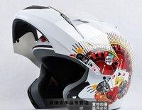 Paulo S-800BDC white poker design flip up helmet full face helmet motorcycle helmet