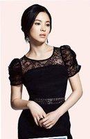 2013 mm black lace dress plus size large summer full dress  sexy short sleeve slim ol elegant black color