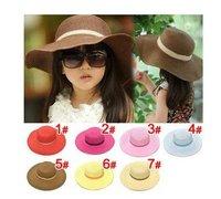 [1st baby mall] Retail 1pc baby girls summer straw knitted sun hats kids beach caps children accessories baby girls soft hats