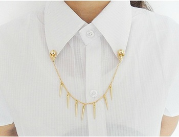 free shipping (20pcs/lot)Gold color skull shirt collar necklace, tassel necklace.  collar  necklace.free shipping .