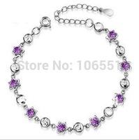 2014 Bracelets Bangles Pulseira Pulseiras Femininas One Direction Box Chain Strand Bracelets Violet 925 Sterling Bracelet Hand