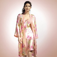 Silk spaghetti strap twinset sleepwear mulberry silk sexy spaghetti strap robe nightgown set sleepwear female silk