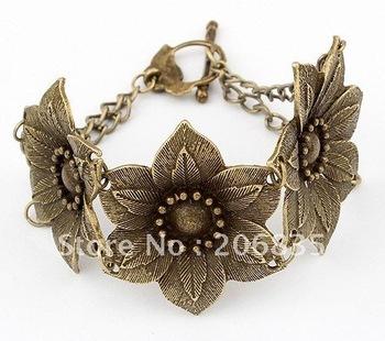 Metal Lucky Alloy Linked Flower Bracelets & Bangles