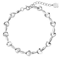 Fashion heart shape 925 sterling silver bracelet  jewelry hand chain