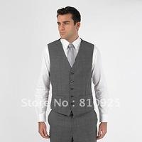 free shipping!custom made vest for men wedding,gray vest for dinner,
