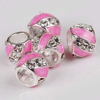 20p Pink Enamel European Beads Fit Charm Bracelet Sale