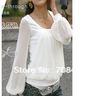 High qulity korean style women fashion summer chiffon long Sleeve summer tee t-shirt Free Shipping B229