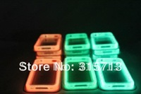 50pcs/lot free shipping by EMS , luminous fluorescent Bumper skin frame case for iPhone 4/4s slicone+tpu with metal button