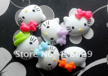 Free Shipping!Very popular smooth back resin DIY adornment cartoon bowknot KT cat head home decoration six color and a batch of